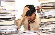 Man overwhelmed by clutter- he needs Stress Express