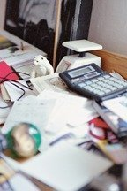 From Stress Express, image of messy home office